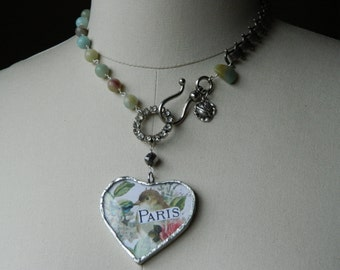 Reserved for Rebecca, please do not purchase unless you are Rebecca  #3 of 3-PARISIENNE OISEAU vintage assemblage jewelry bird necklace