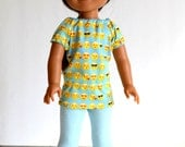 """14.5"""" Doll Clothes,Fits Wellie Wishers, 14.5"""" Doll Emoji Design, Peasant Style Knit Top, Light Blue Doll Leggings, Emoji Doll Hair Accessory"""