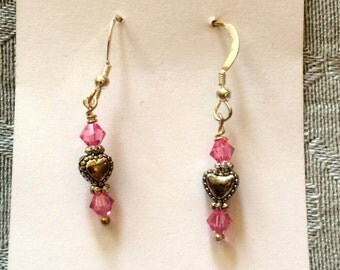 Pink Earrings with Heart Beads