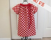 Peasant Dress -  Minnie Inspired  - Valentine's Dress -  Girls - 18  Months - Red White Polka Dot - Ready to ship - By Emma Jane Company