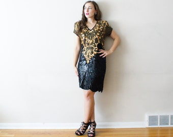 Vintage 80s Sequin Cocktail Dress - Sparkly Black & Gold Beaded Party Dress - S/M