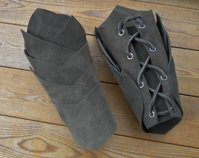 Dragon Rider Leather Bracers - Dark Brown Suede Arm Guards - Medieval, Renaissance