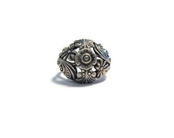 Vintage Sterling Floral Filigree Ring Size 9.5