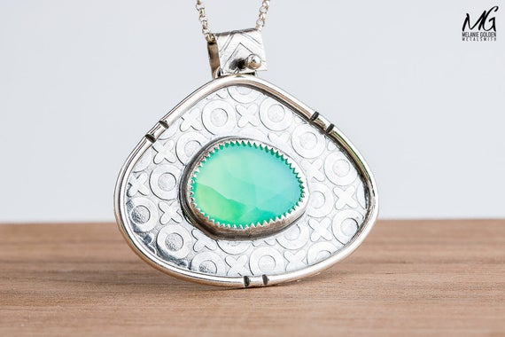 Lime Green Chalcedony Gemstone Necklace in Sterling Silver with XOXO Border