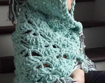Owl blanket, hooded owl blanket, crochet owl blanket, Gray Pink Orange Owl Blanket, Woodland theme