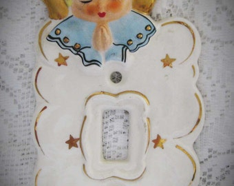 1950s Angel Light Switch Plate Cover-Ceramic Yona Original-Japan Baby Room Nursery-Angel Collector