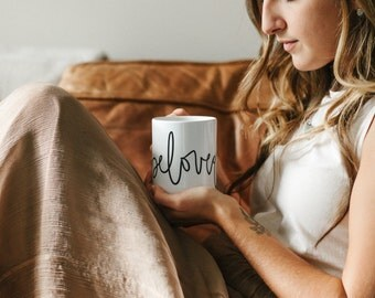 Cute mug, Coffee Mug, Lettered Mug, Christian Mug, Beloved, Mom gift, Girlfriend gift, Quote Mug, birthday gift, gift for her,