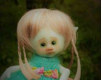one only ever!! tiny bjd blue skin Kirby fairy elf fairie full set dressed ready to ship