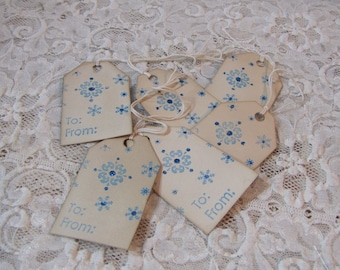 Snowflake Blue Glitter To From Vintage Holiday Christmas Tags set of 6