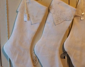 White or cream linen Christmas stockings, Christmas stocking, vintage handkerchiefs, personalized on mother of pearl