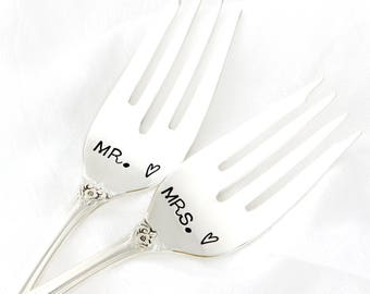 Mr and Mrs wedding forks. Hand stamped silverware for special engagement present.