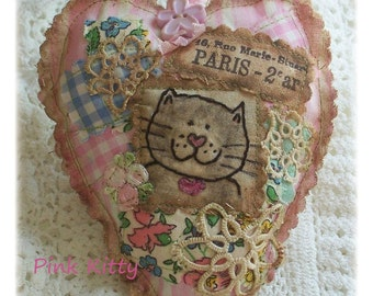Pink Kitty- Scented Sachet, patchwork, primitive hand drawn cat, applique, hand embroidered in Australia