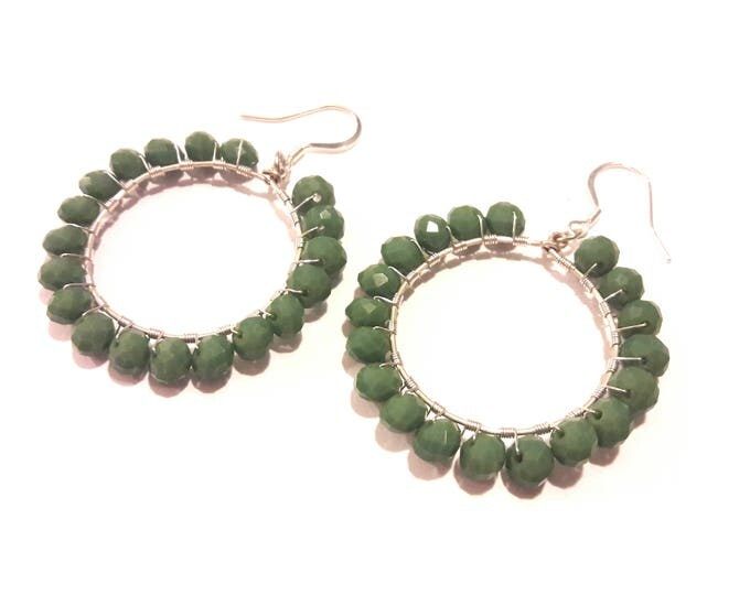 Sage Green Earrings, Large Hoops, Handmade Wire Wrapped Silver and Green Crystal Earrings