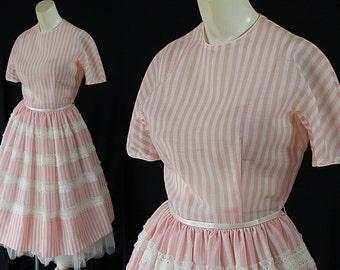 50s Jean d'Arc Dress Pink Stripes Lace Rockabilly
