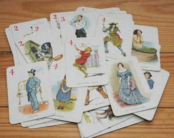 Peter Pan card game, vintage flashcards, HP Gibson and Sons