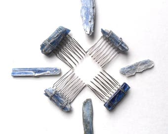 Boho Chic Blue Stone Hair Comb, Natural Stone Comb, Festival Hairpiece, Blue Kyanite Gemstone
