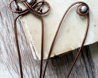 Pearl Hair sticks, hair pin, metal hair forks,  boho bun pins, wire wrap hair accessories - Set of 2 - Hair jewelry - Bridal wedding - gift
