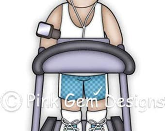 Digi Stamp Treadmill Dave. Male  Birthdays. Fathers Day