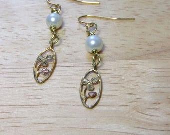 10K Gold Pearl Earrings, Gold Flower Earrings, Upcycled Black Hills Gold Earrings, Faux Pearl Wire Wrap, Pearl Charm Earrings