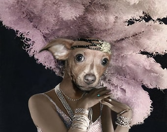 Doxie, Dachshund Art Print, Anthropomorphic, Vintage Dog Print, Altered Photo, Whimsical Artwork, Photo Collage Art, Digital Art Print