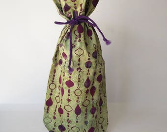 Gift bag, Batik Cotton Reusable Gift bag, Wine Bottle Bag