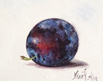 Blue Plum Still Life Original Oil Painting by Nina R.Aide Still Life Kitchen Art Small Daily Painting Fruit