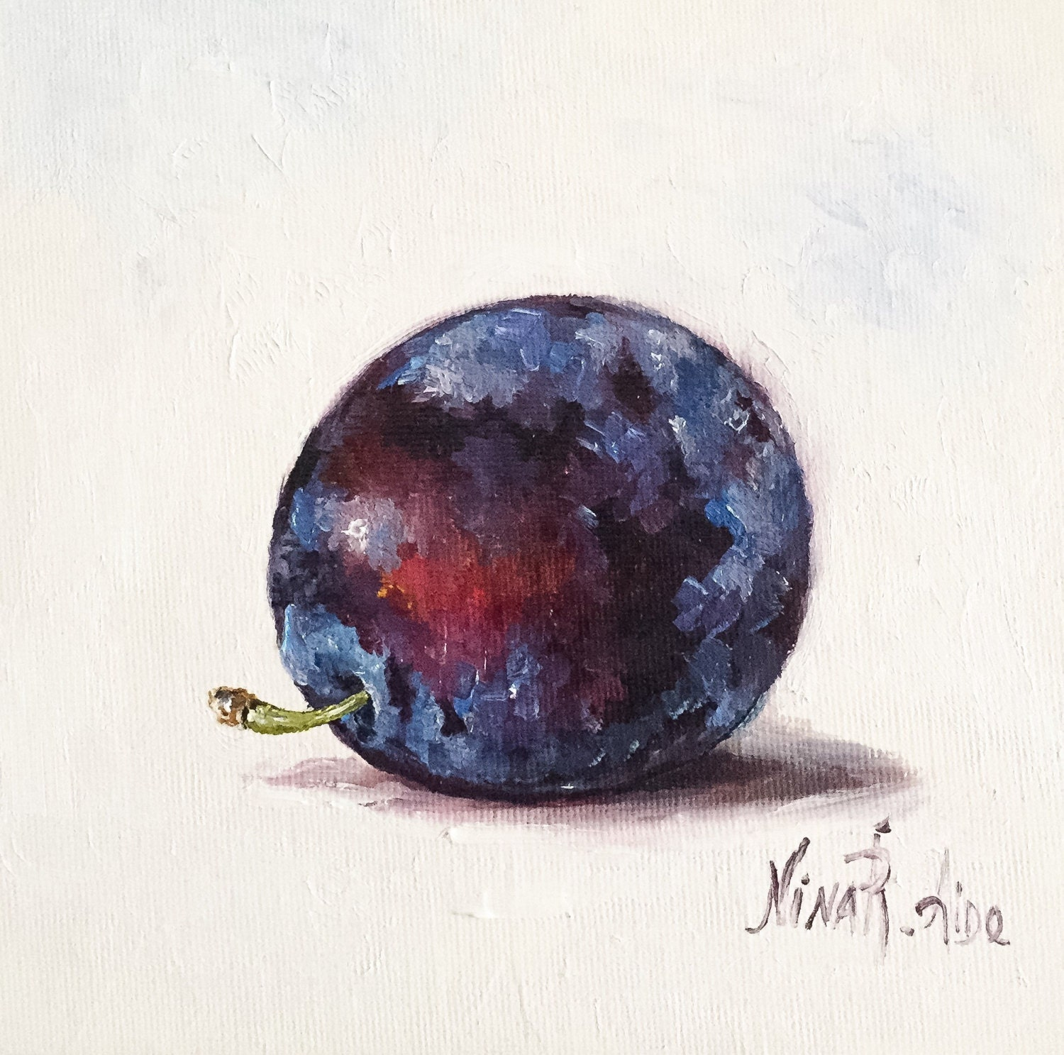 Plum Kitchen Paint: Blue Plum Still Life Original Oil Painting By Nina R.Aide
