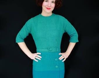 Gorgeous 1950s 1960s Blue Wool Secretary Wiggle Dress Size SMALL