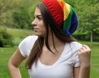 LGBTQ Support Slouch Beanie - Colorful Hat - Rainbow Beanie - Winter Hat - Gay Pride - Equality Beanie
