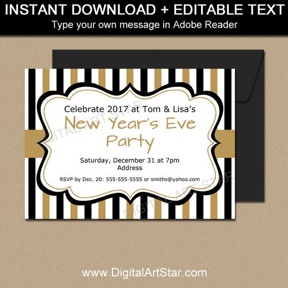 new years invitation template editable new years party. Black Bedroom Furniture Sets. Home Design Ideas