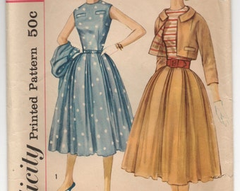 "1950's Simplicity One-Piece Dress and Jacket Pattern - Bust 32"" - No. 2368"