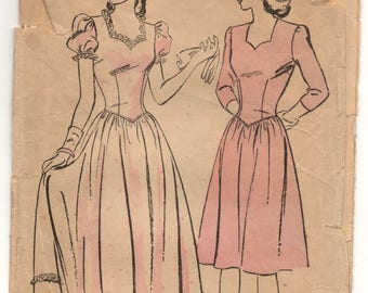 """1940's Advance One Piece Evening or Cocktail Dress with Sweetheart Neckline and Puff Sleeves pattern - Bust 34"""" - No. 3756"""