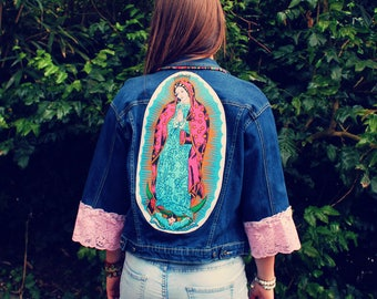 Bohemian Denim Jacket XXS - M Virgen de Guadalupe Mexican Maria Boho Hippie Women's Upcycled Clothing Recycled Eco Friendly OOAK
