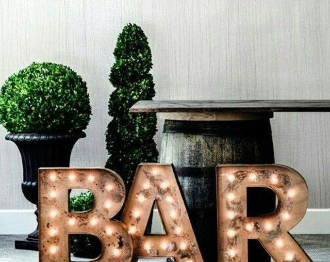 """3pc 24"""" BAR BBQ Eat Large Metal Letter Marquee Vintage Inspired… Wedding Birthday Home A B C D E F G H I J K L M N O P Q R S T U V WXYZ"""