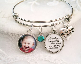 Mother of the Groom Bracelet Thank you for Raising the man of my Dreams Mother of the Bride Bracelet Add Personal Message charm Bridal Gift