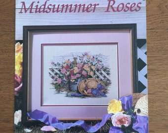 Paula Vaughan Counted Cross Stitch Pattern - Midsummer Roses - Book Forty-nine, Leisure Arts Leaflet 2246
