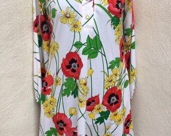 Vintage adorable tent dress by Anjac polyester modern floral sz 12 M