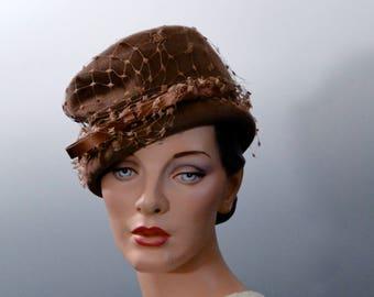 Vintage Brown Felt Tilt Hat 1940's Women's Fedora War Era Fashions