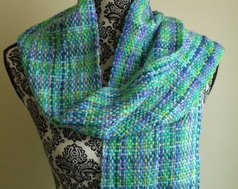 Woven Scarf in Blue Green & Purple Handwoven scarf