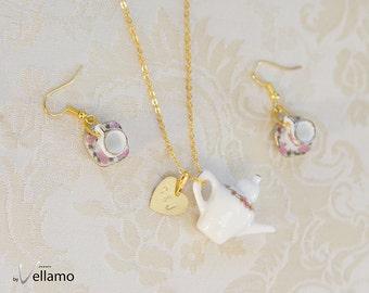 Personalized teaset jewelry set, custom initial gold rim flowers, miniature porcelain, miniature teacups, teapot, custom stamped tags