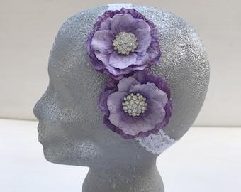Purple flowers headband~Flower girl~Lace headband~Photo prop~Photography prop~Wedding~Baby girl~Gift~Hair accessory~Toddler