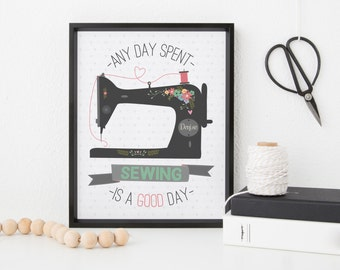 Sewing quote print - personalised print - craft room decor - A day spent sewing - friendship print - print for best friends - sewing machine