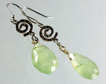 Prehnite Earrings, Sterling Silver, dangle statement earrings, light green gemstone, gift for her, boho earrings, feminine, elegant, 0449