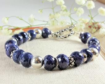 Sapphire Bracelet, 925 Sterling Silver, Genuine Sapphire Jewelry, boho bracelet, navy blue gemstone bracelet, statement braclet, gift, 4145