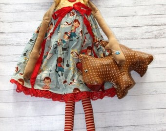 Tall Proud Mama Scottie Lover Annie - Primitive Raggedy Ann Doll