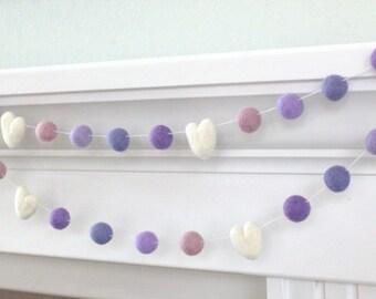 Purple Felt Ball Garland- Shades of Light Purple Lavender Hearts & Balls- Pom Pom- Nursery- Holiday- Wedding- Party- Childrens Room