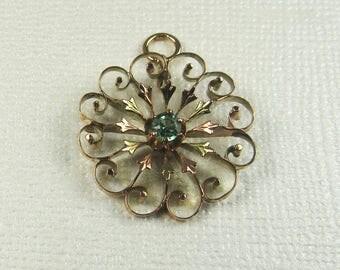 Edwardian Emerald Sunburst Pendant, Sunburst Pendant, Emerald Pendant, May Birthstone Pendant, Birthstone Pendant, May Birthstone