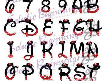 Minnie Mouse Alphabet Etsy