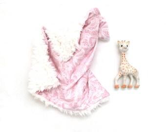 Lovey Pink Lace. Lovey. Lace Lovey. Pink Lovey. Mini Baby Blanket. Security Blanket. Lovie. Minky Lovey.
