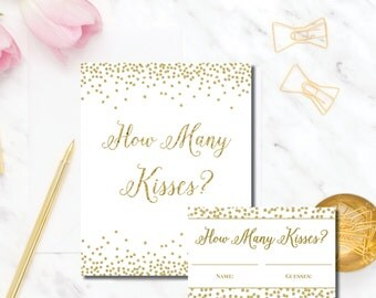 How Many Kisses in the jar bridal shower game how many kisses game guess the kisses bridal shower gold bridal shower printable games